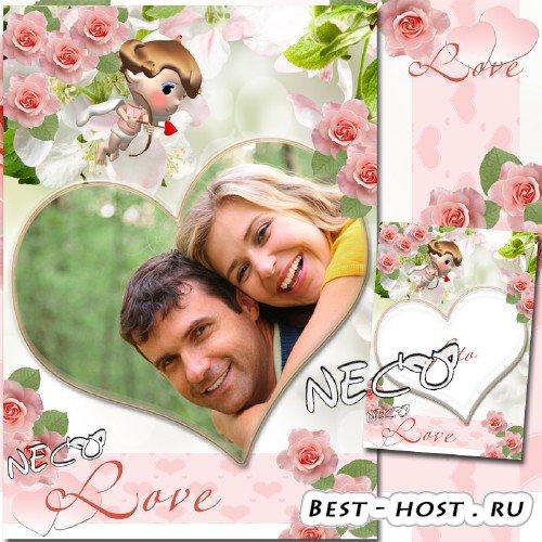 Романтическая рамка с розовыми розами и Амуром - Наша любовь