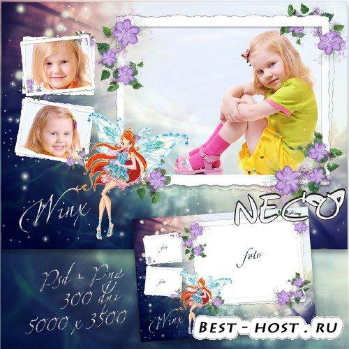 Детская фоторамка в с феей винкс Блум на три фотографии
