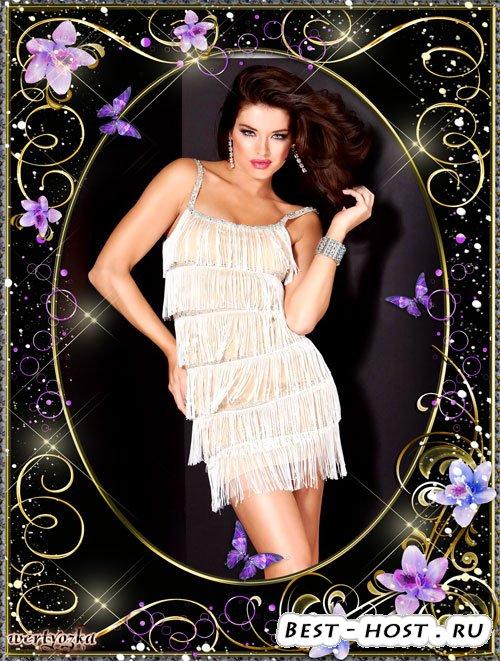 Рамка шаблон для стильного фото - Сиреневые цветочки в золотых орнаментах