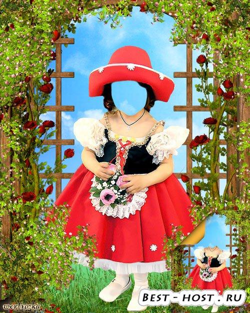 Шаблон Детского многослойного psd костюма фотошаблон - Сказочный персонаж Красная Шапочка в лесу