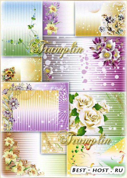 Красивые  полосатые фоны с цветами для дизайнерских работ