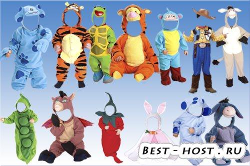 Детский шаблон для фотомонтажа - Детские костюмы
