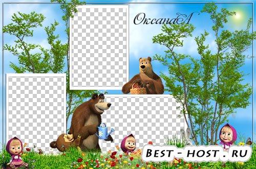 Рамки для детей шаблон на 3 фото – Лето с Машей и медведем