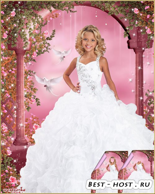 Многослойный детский psd костюм-шаблон - Девочка в нарядном белом платье и  ...