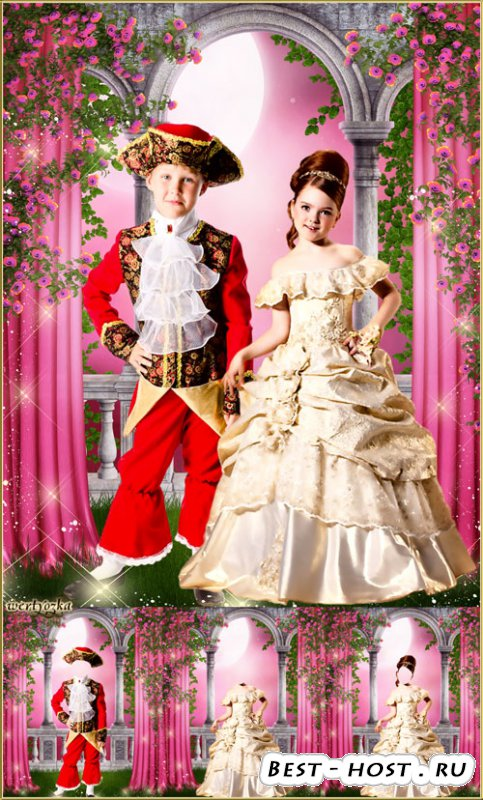 Многослойный парный детский шаблон - Принц и принцесса среди чудесных роз