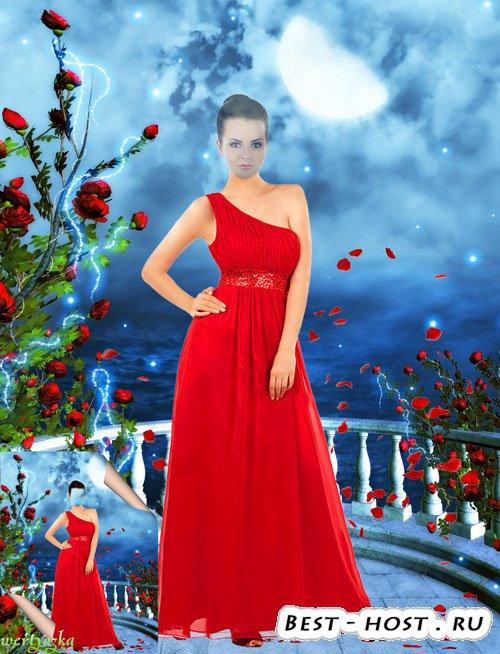 Многослойный женский psd шаблон - Девушка в красном платье в лепестках роз