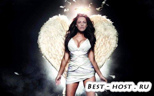 Шаблон для фотошопа - девушка ангел с крыльями
