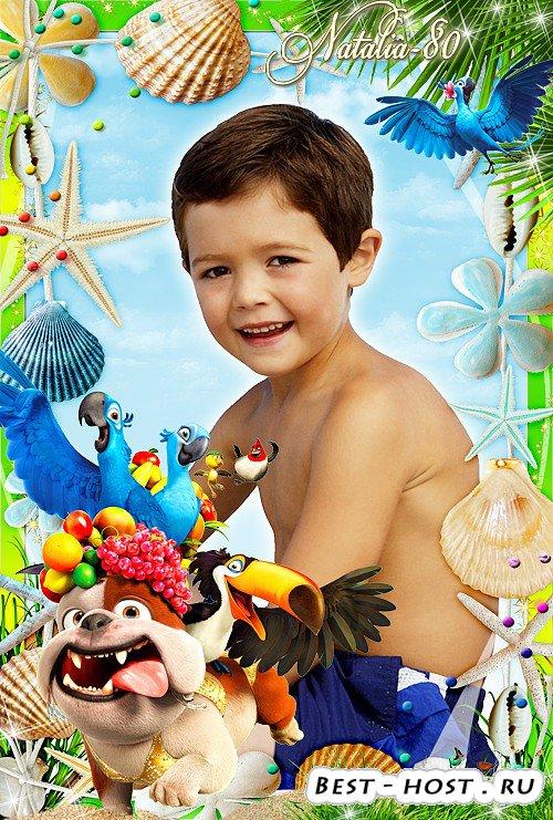 Яркая детская рамочка для оформления фото с героями м/ф Рио - Долгожданный  ...