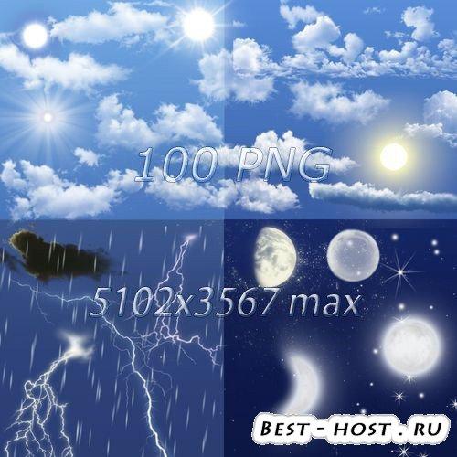 Элементы неба на прозрачном фоне - Облака, солна, луны, звезды, дождь, снег ...