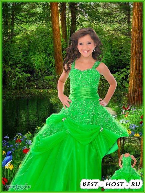 Многослойный детский psd шаблон - Девочка в ярко-зеленом платье словно лесн ...
