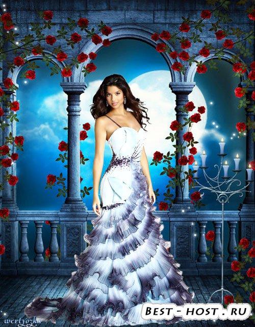 Женский psd шаблон - Девушка в окружении роз и волшебная лунная ночь