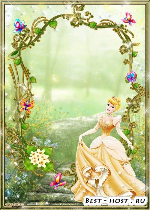 Детская psd рамочка - Обаятельная принцесса в изящном платье