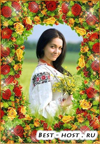 Фоторамка с цветами  - Поутру так пахнут розы