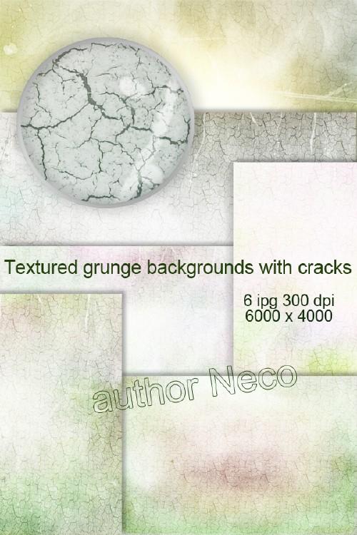 Текстурированные гранжевые фоны с трещинами - Textured grunge backgrounds with cracks