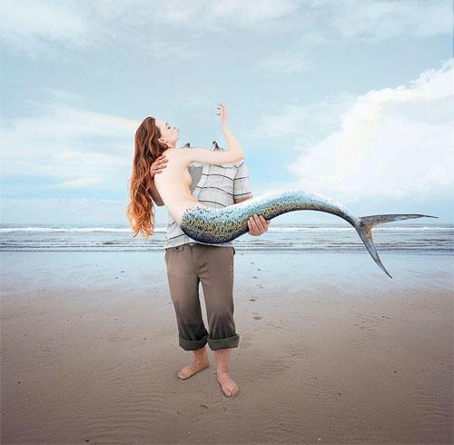 Шаблон для фото - поймал русалку