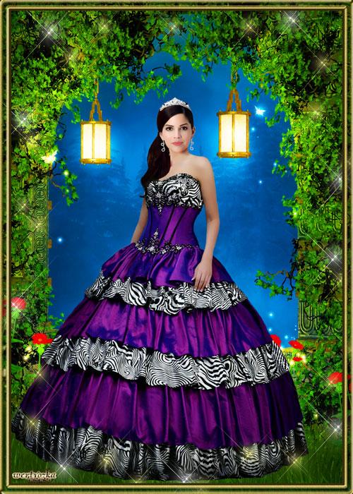 Женский шаблон - Шикарное платье сиреневого цвета