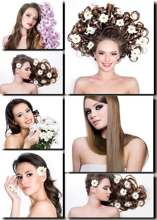 Фотоклипарт - Девушки и цветы
