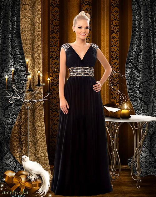Женский шаблон - В черном длинном платье и романтический вечер при свечах