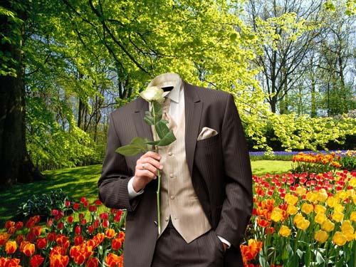 Шаблон для фотошопа - парень с цветком
