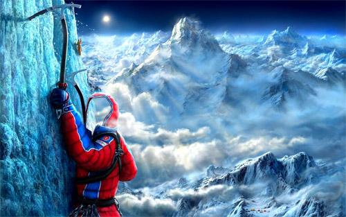 Шаблон мужской - альпинист на горе