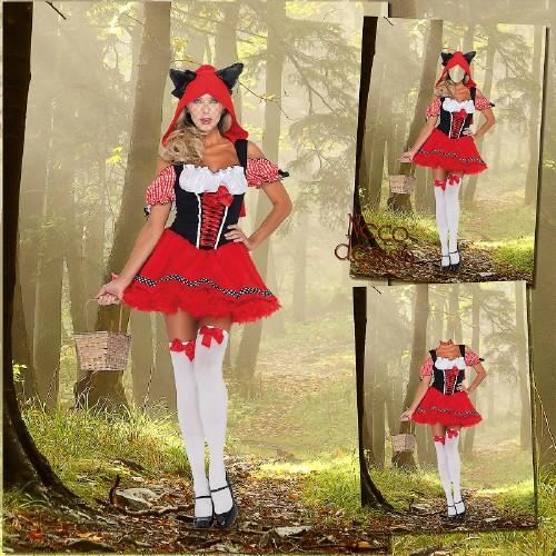 Женский шаблон для фотошопа - Красная шапочка в лесу