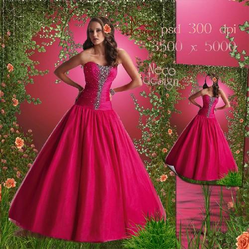 Женский шаблон - В бальном розовом платье в розовом саду