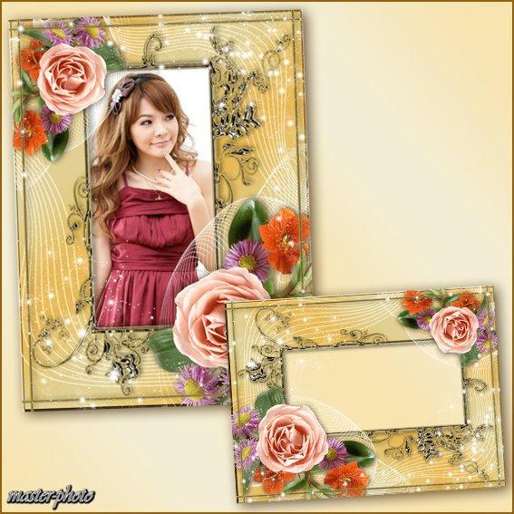 Цветочная рамка для фотошопа - Нежность шелка