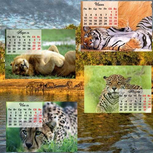 Календари - дикие кошки