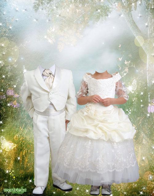Детский шаблон - Мальчик и девочка в белых нарядах