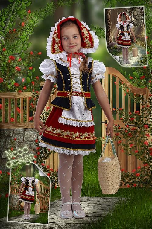 Детский шаблон для девочек - Красная Шапочка идет к бабушке