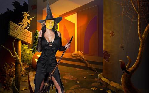 Шаблон для фотошопа - костюм ведьмы
