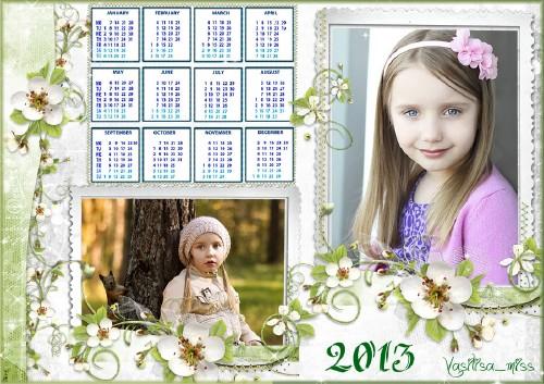 Красивый детский календарь - рамка для фотошопа - Нежность