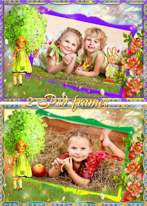 Детские рамки для фотошопа - Девочка и цветы в стиле винтаж