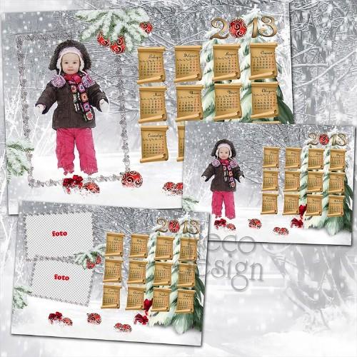 Зимний календарь на 2013 год - В новогоднем лесу