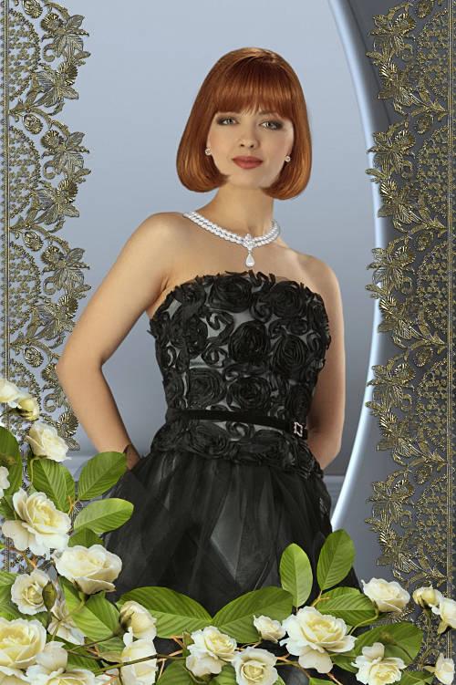Женский шаблон для фотошопа - Молодая девушка в чёрном платье