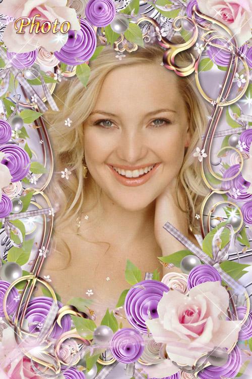 Цветочная рамка для фото - Роза всем кустам царица