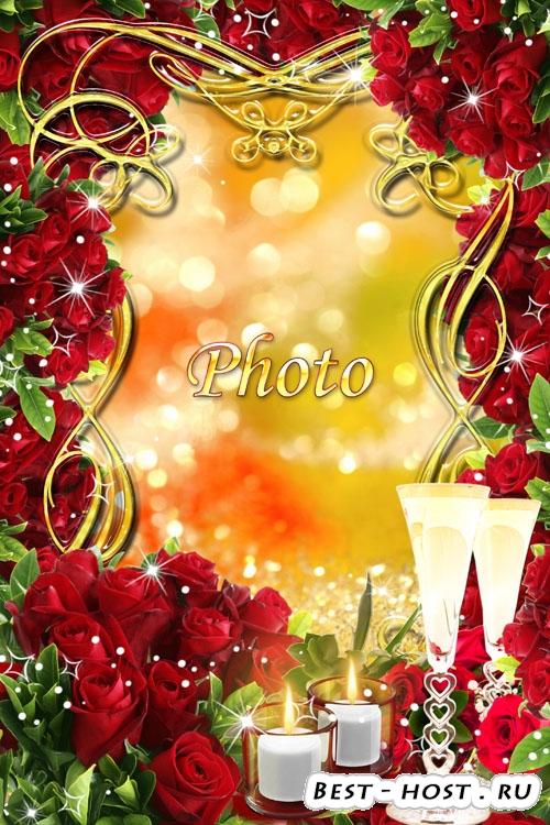 Романтическая рамка для фото - Розы и бокалы