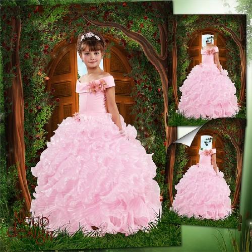 Шаблон для девочки в розовом пышном платье - Хозяйка лесного дома