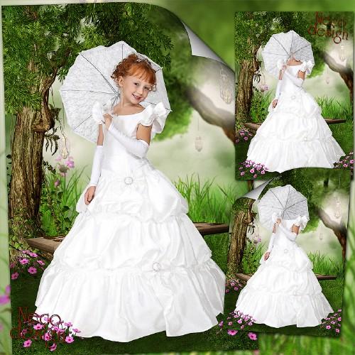 Детский фотошаблон для девочки - Леди в белом с зонтиком на прогулке