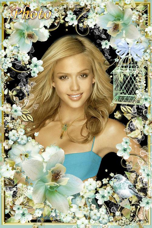 Цветочная рамка для фото - Нежные , голубые цветы