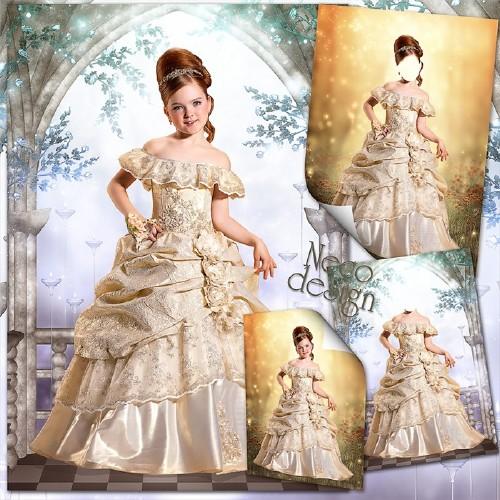 Детский шаблон для девочки - Пышное платье с оборками для маленькой фрейлины