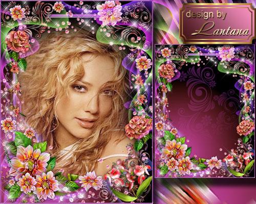Рамка для фото - И яркие осенние цветы опять тебе любовь наворожат