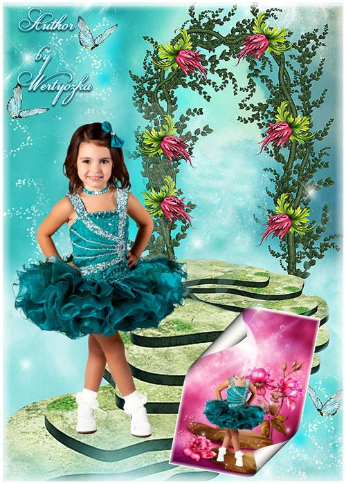 Детские шаблоны для фотомонтажа с маленькой девочкой в красивом платье