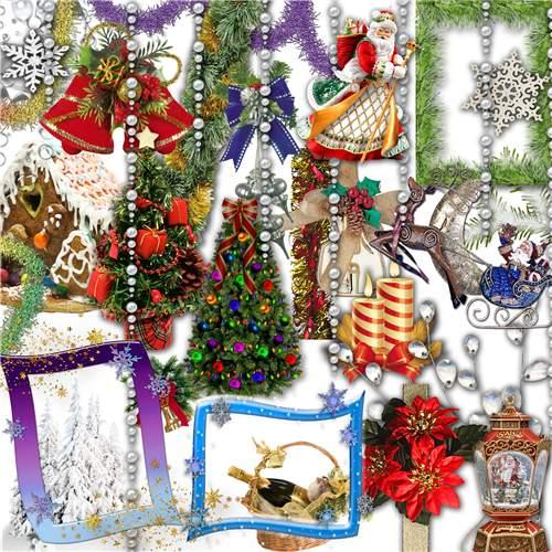 Новогодний клипарт в PNG - Снежинки, елочки, мишура