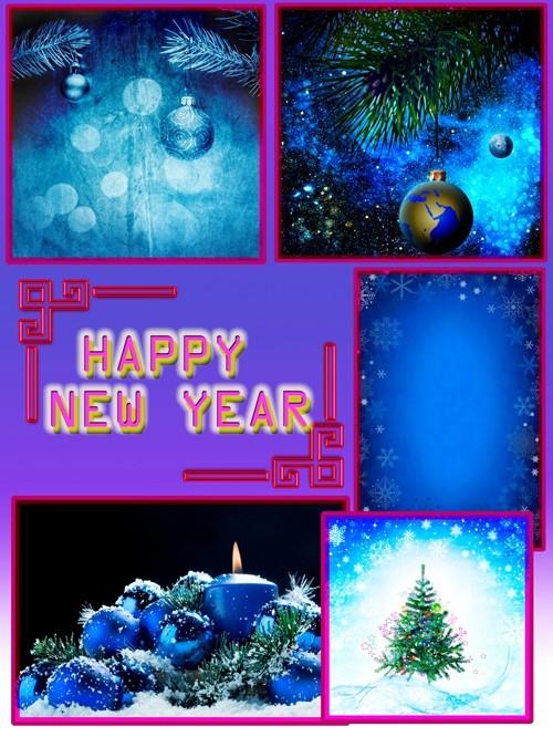 Новогодние Клипарты-Фоны в синих тонах