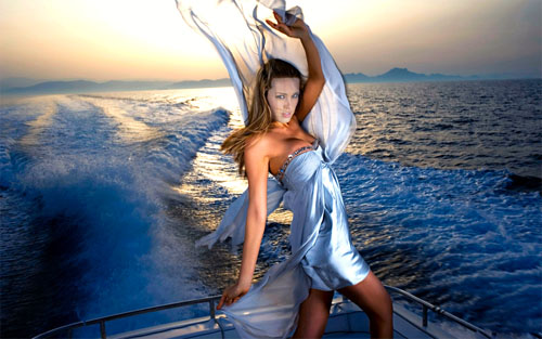 Шаблон женский - фотосессия на яхте