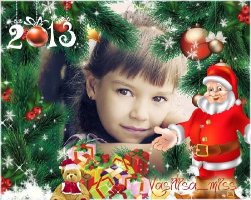Красивая новогодняя рамочка для фотошопа с хвойными веточками, новогодними  ...