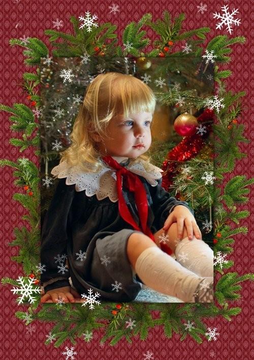 Новогодняя рамочка для фотошоп - В ожидании подарков
