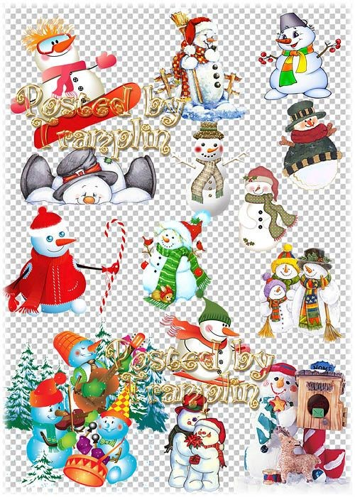 Клипарт на прозрачном фоне – Любимые снеговики