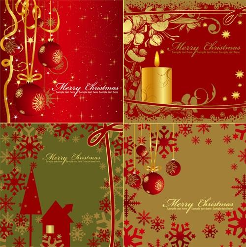 Векторные новогодние красные открытки
